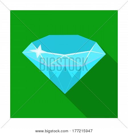 Gem diamond. A valuable prize in the casino.Kasino single icon in flat style vector symbol stock web illustration.