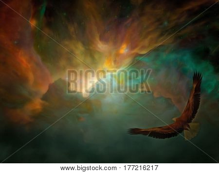 Eagle flying free in the Heavens.   3d render.   Some elements provided courtesy of NASA