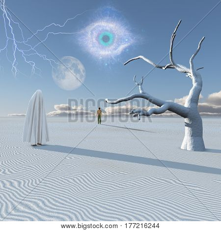 Figure in white hijab stands in surreal white desert. Lonely man in a distance.   3d render.   Some elements provided courtesy of NASA