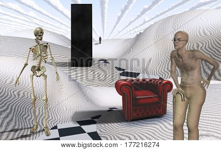 Surreal white desert with Black Monolith. Old man and red armchair. Skeleton. Figure of man in a distance.   3d render.
