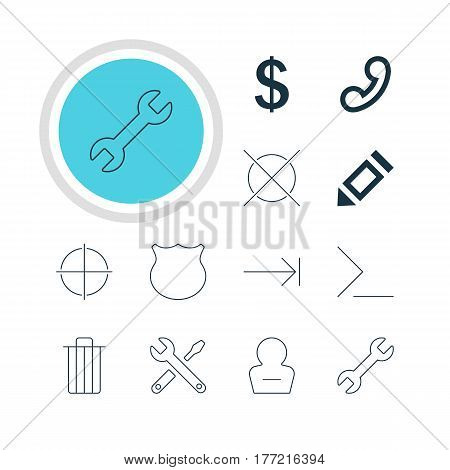 Vector Illustration Of 12 Interface Icons. Editable Pack Of Cancel, Guard, Money Making And Other Elements.