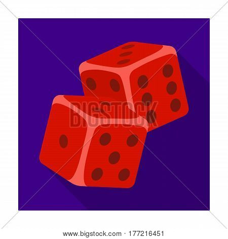Dice for games in the casino. Stones to throw on the table for good luck.Kasino single icon in flat style vector symbol stock web illustration.