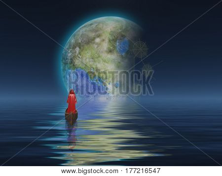 Figure in cloak floats in boat towards terraformed moon.   3d render.   Some elements provided courtesy of NASA
