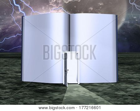 Surrealism. Empty book with opened door. Starry sky on a background.   3d render.   Some elements provided courtesy of NASA