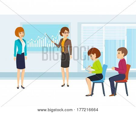 Colleagues discuss financial issues and statistics of the state of affairs of the company, conduct a presentation for the audience present. Vector illustration.