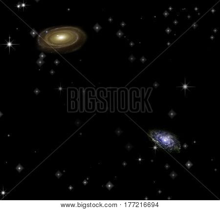Two galaxies.   3d render.   Some elements provided courtesy of NASA