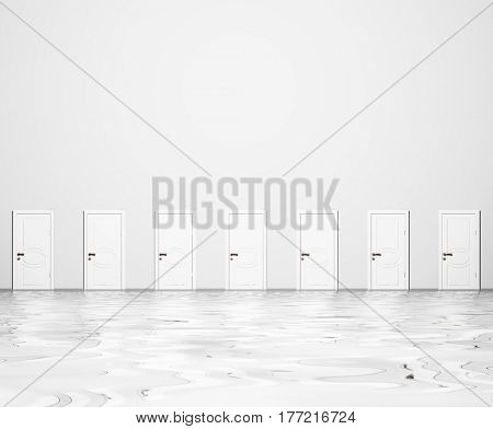 Wall of doors on white wall.   3d render.