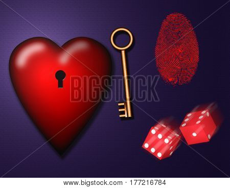 3d render. Heart with keyhole. Golden key and dice.   3d render.