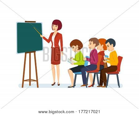 Co-worker conducts thematic conference and business training on financial matters for an audience of colleagues and partners, for their education. Vector illustration.