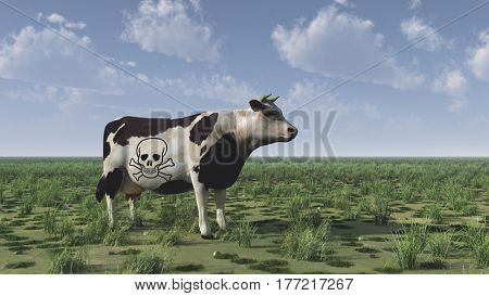 Surrealism. 3D render. Cow with death sign stands on green field.