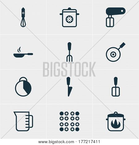 Vector Illustration Of 12 Kitchenware Icons. Editable Pack Of Steamer, Whisk, Handmixer Elements.