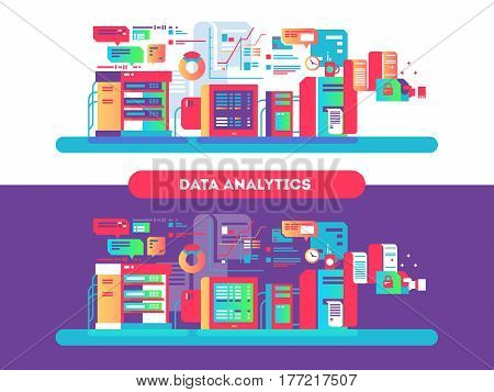 Data analytics design flat. Web technology, management information, development process optimization, vector illustration