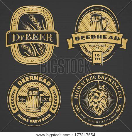 Set of vintage beer emblems labels and badges. Vector illustration. Brewery logo design elements on dark background.