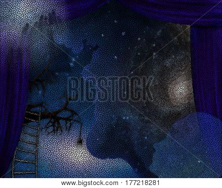 Surrealism. Blue curtains. Ladder leads to tree branch. Galaxy in the sky.    3D Render  Some elements provided courtesy of NASA