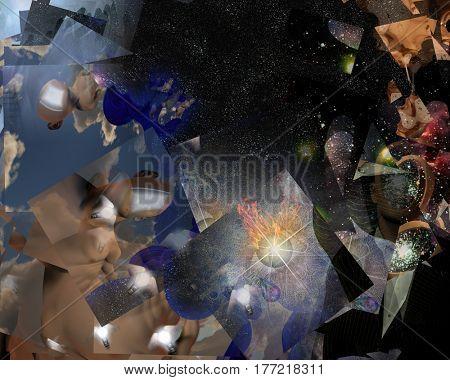 Surrealism. Doors, light bulbs. Burning eye.    3D Render  Some elements provided courtesy of NASA