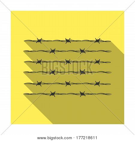 Barbed wire for detaining criminals in prison. A fence in prison.Prison single icon in flat style vector symbol stock web illustration.