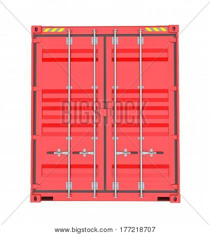 Red Cargo Container. Isoalted on white background. 3D Illustration. Front View
