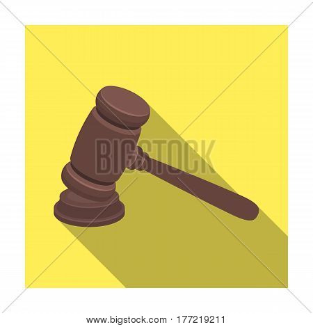 Judge wooden hammer. Hammer for deducing the verdict to the criminal.Prison single icon in flat style vector symbol stock web illustration.