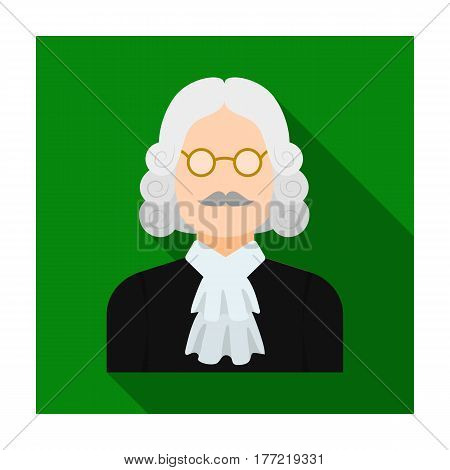 A judge in a wig and glasses. A person who makes a verdict to a criminal.Prison single icon in flat style vector symbol stock web illustration.