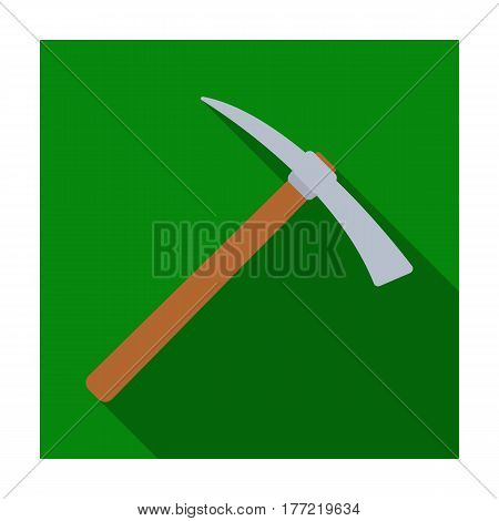 Iron pick with wooden wooden handle. The criminals tool for killing.Prison single icon in flat style vector symbol stock web illustration.