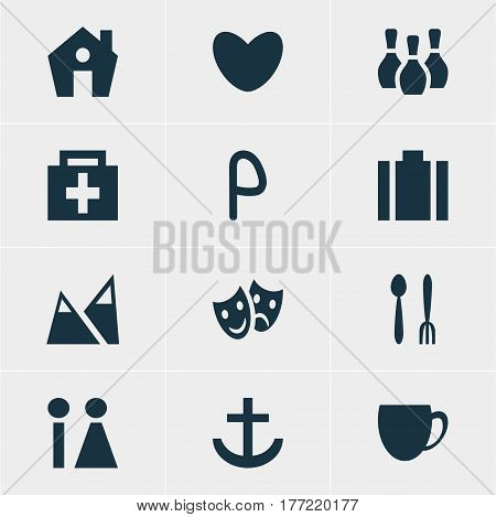 Vector Illustration Of 12 Check-In Icons. Editable Pack Of Drugstore, Landscape, Coffee Shop Elements.