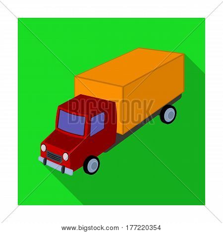 Red truck with a yellow body. The car for cargo transportation.Transport single icon in flat style vector symbol stock web illustration.
