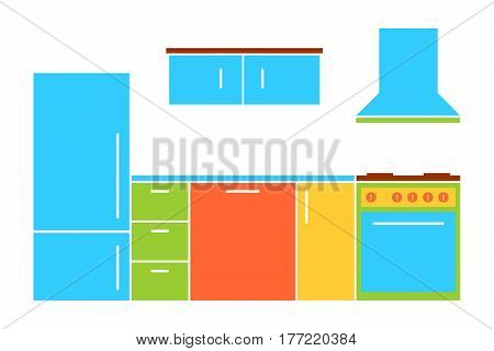 Colorful cartoon kitchen furniture set in flat style. Isolated kitchen furniture set on white background. Vector kitchen furniture set for use in variety of projects.