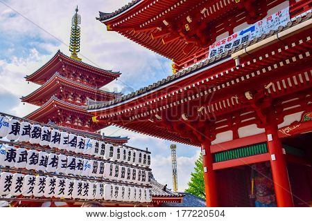 Tokyo Japan-April 23 2016: Sensoji temple (Asakusa Kannon temple) is an ancient Japanese Buddhist temple located in Asakusa area Tokyo