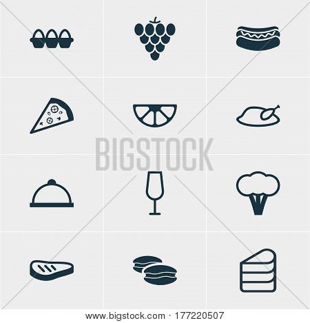 Vector Illustration Of 12 Eating Icons. Editable Pack Of Patisserie, Pizzeria, Lime And Other Elements.