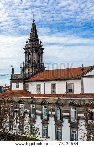Trinity Church and building of Trinitarian Order hospital in Porto Portugal