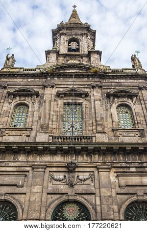 Frontage of Church of Holy Trinity in Porto Portugal