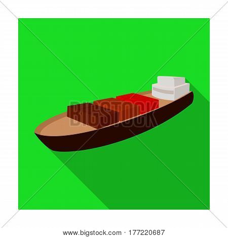 A ship for the transport of heavy goods over long distances by sea and ocean. Water freight transport.Transport single icon in flat style vector symbol stock web illustration.