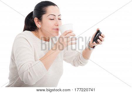 Happy Female Enjoying The Smell Of Espresso