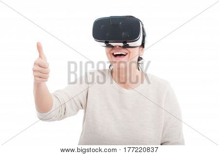 Joyful Funny Female Showing Thumb Up