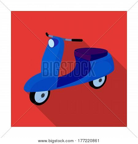 Blue two wheeled scooter. Transport for moving around the city.Transport single icon in flat style vector symbol stock web illustration.