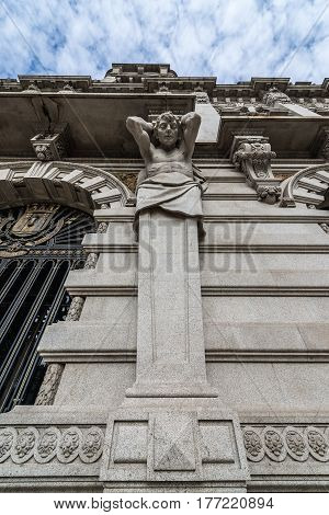 Details of front facade of City Hall of Porto in Portugal