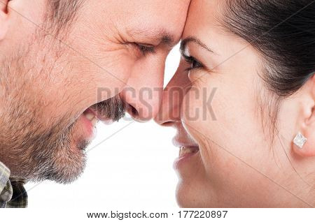 Romantic Young Couple Touching Their Foreheads