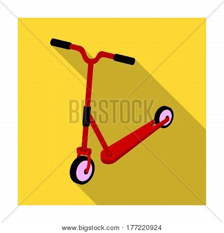 Children red scooter. Transport for children walks.Transport single icon in flat style vector symbol stock web illustration.
