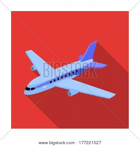 Aircraft for transportation of a large number of people. The safest air transport.Transport single icon in flat style vector symbol stock web illustration.