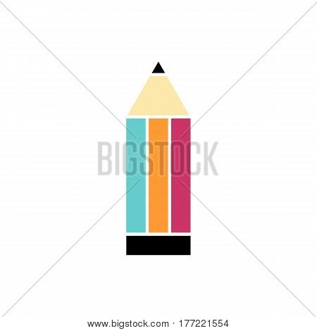 Flat colorful pencil icon on white background. Isolated pencil icon for use in variety of projects. Stylish minimal vector pencil icon for web sites and apps.
