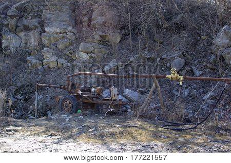 Compressor in quarry. Quarry equipment. Granite quarry
