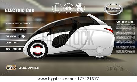 Realistic 3d Electric car infographic concept. Digital Vector Electric car poster with icons. e-commerce business concept engine