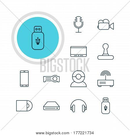 Vector Illustration Of 12 Hardware Icons. Editable Pack Of Headset, Floodlight, Dvd Drive And Other Elements.