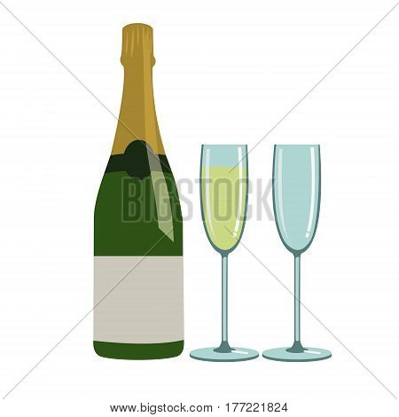 bottle of champagne and two glasses for champagne