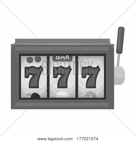 A slot machine in a casino. An automatic with a lever and a dial.Kasino single icon in monochrome style vector symbol stock web illustration.