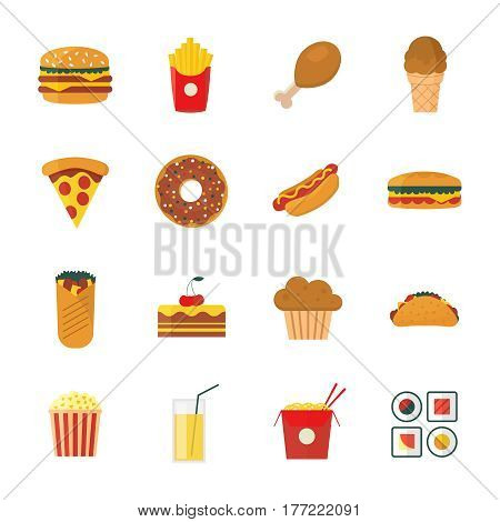 Set of colorful flat/cartoon design fast food icons set. Vector illustration isolated on a white background. Snakes junk elements or symbols for web and mobile applications or advertising.