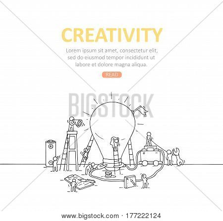 Backdrop with working little people big lamp idea. Doodle illustration about creativity. Hand drawn cartoon vector for business template.