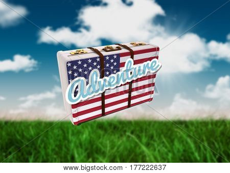 Digital composite of American Flag Luggage against field and sky background