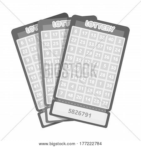 Lottery tickets. Chance to win the jackpot. Gambling in the casino.Kasino single icon in monochrome style vector symbol stock web illustration.