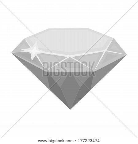 Gem diamond. A valuable prize in the casino.Kasino single icon in monochrome style vector symbol stock web illustration.